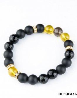 Гривна от черни и жълти камъни