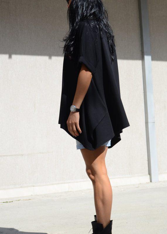 Дамска блуза с къс ръкав в черно Kotyto