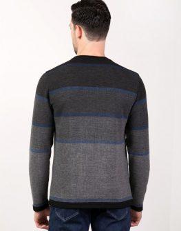 Мъжки пуловер в сиво райе Styler