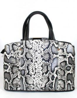 Дамска чанта в черно - бяла змия Sara Pen