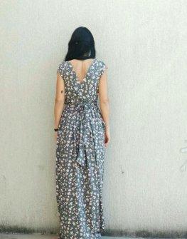 Сива дълга рокля с цветя Kotyto