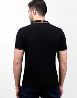 Черна блуза с къс ръкав и яка Styler