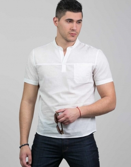 Бяла мъжка риза с къс ръкав Styler