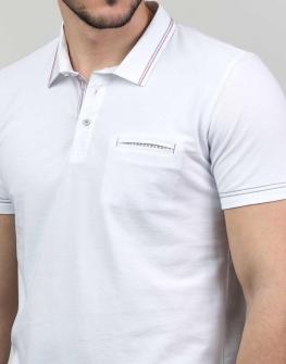 Бяла тениска с яка Styler