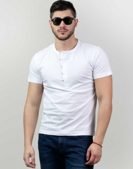 Бяла блуза с къс ръкав Styler