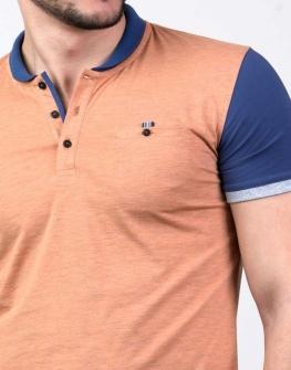 Мъжка тениска в синьо и оранжево Styler