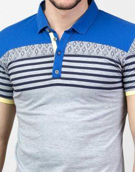 Мъжка блуза с къс ръкав в сиво и синьо Styler