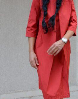 Червена рокля до коляното Kotyto ПРОМО