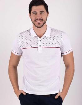 Мъжка тениска с яка в бяло Styler
