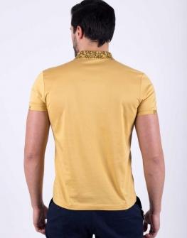 Мъжка блуза с къс ръкав и яка от STYLER в цвят камел