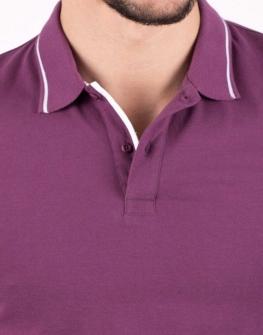 Мъжка блуза с къс ръкав и яка от STYLER в лилаво