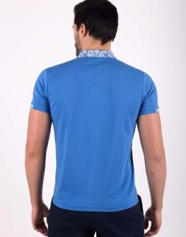 Мъжка блуза с къс ръкав STYLER в син цвят