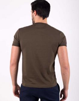 Мъжка блуза с къс ръкав STYLER в цвят каки