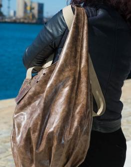 Кафява дамска чанта от естествена кожа Colosseum