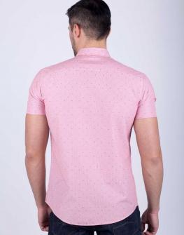 Спортно-елегантна мъжка риза с къс ръкав STYLER в розово