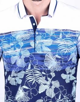 Мъжка блуза с къс ръкав STYLER в бяло с цветни мотиви