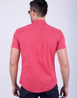 Мъжка риза с къс ръкав STYLER в цвят корал