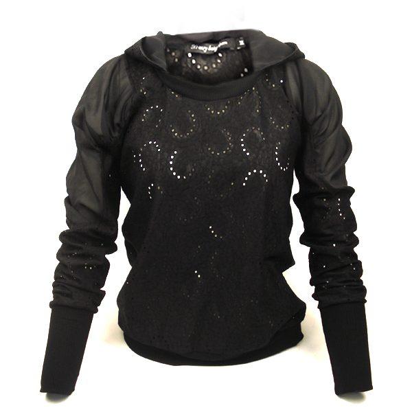 Дамска дантелена блуза с качулка