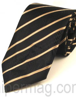 Мъжка вратовръзка New Line - черна с ивици