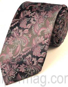 Мъжка вратовръзка New Line - сива на цветя