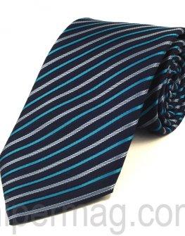 Мъжка вратовръзка New Line - тъмно и светло сини раета