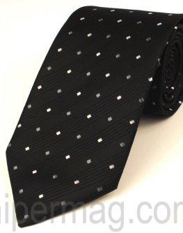 Мъжка вратовръзка New Line - черна на сиви квадратчета