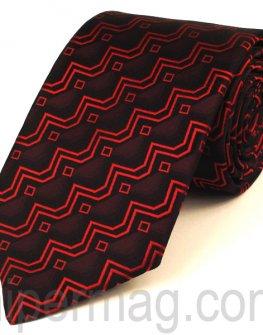 Мъжка вратовръзка New Line - бордо с червени орнаменти