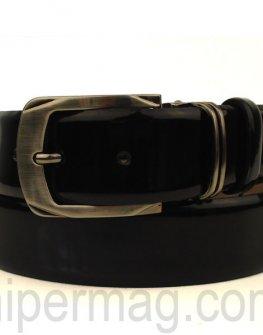 Мъжки колан Styler естествена кожа - черен, с лачен ефект