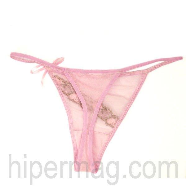 Дамски комплект сутиен и прашка - розов с дантела
