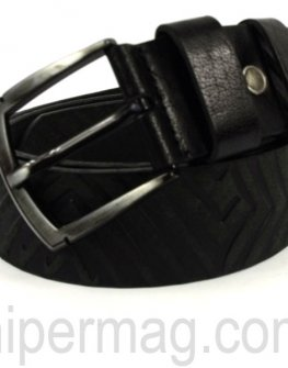 Кожен мъжки колан с релефни орнаменти - черен