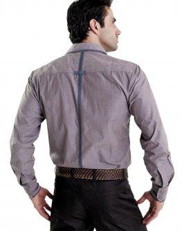 Мъжка риза STYLER - на ситно райе с контрастни акценти