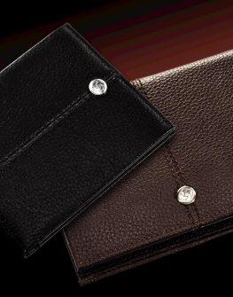 Стилен дамски портфейл от естествена кожа (черен)