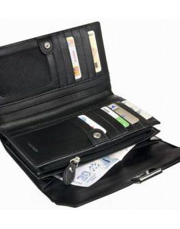 Елегантен дамски портфейл от естествена кожа (черен)