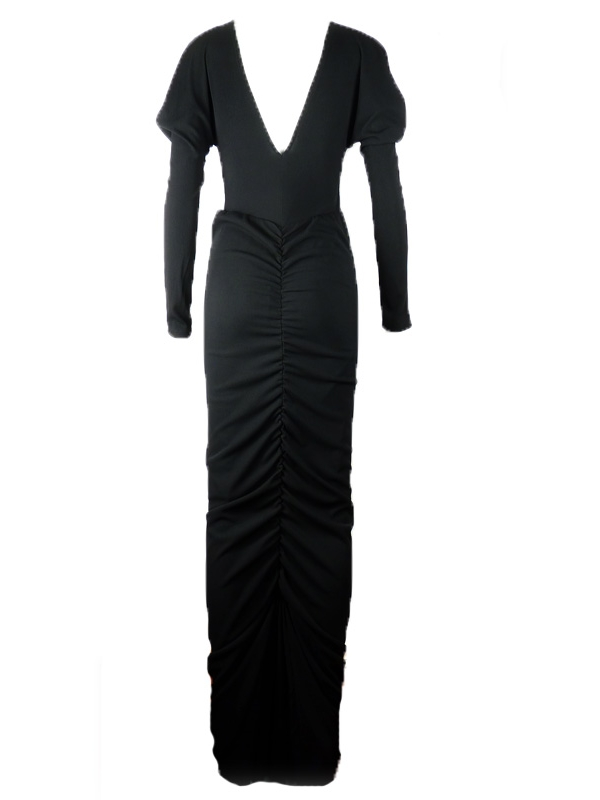 Дълга рокля La Speciale с набори отзад и гол гръб