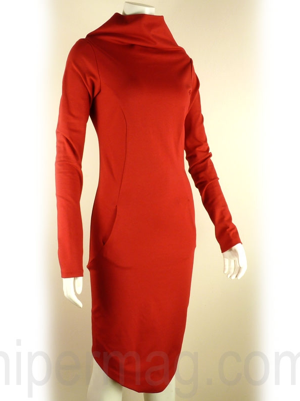 Къса рокля с цип и високо бие