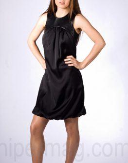 Къса рокля La speciale с детайли от еко кожа