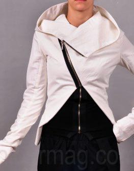 Дамско яке с асиметричен цип и качулка от La speciale