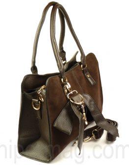 Дамска чанта Exchange с ефектна панделка и красиво цвете
