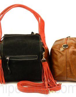 Стилна дамска чанта в три цвята с ефектни висулки