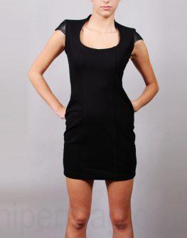 Къса рокля La speciale с детайли от кожа