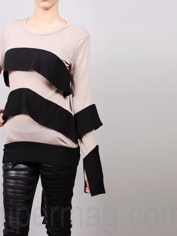 Дизайнерска блуза La speciale в нежно бежово