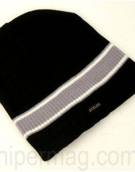 Мъжка шапка STYLER – черна с рае в сиво