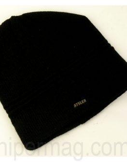 Мъжка шапка STYLER – черна с напречни ленти