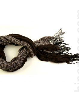 Унисекс шал STYLER - тъмно кафяв с рае