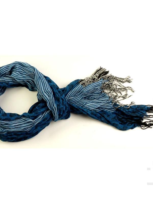 Унисекс шал STYLER - леопардово синьо с рае