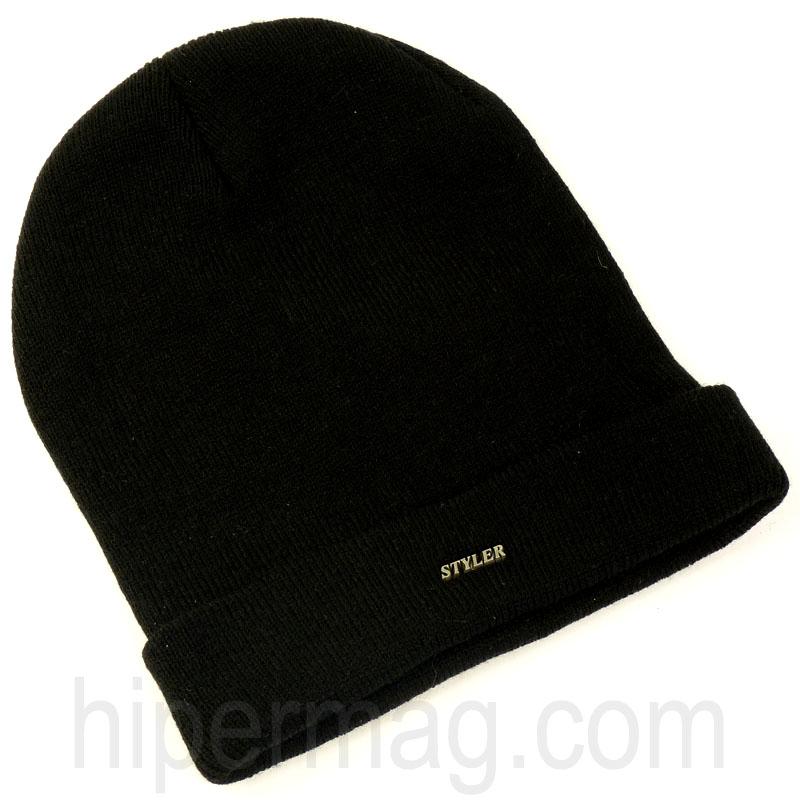 Мъжка шапка STYLER - черна с лого
