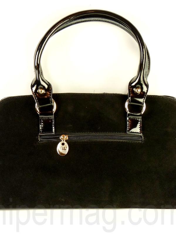 Дамска чанта Exchange - естествен велур и лак
