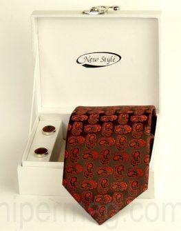 Комплект мъжка вратовръзка и ръкавели - червени нюанси