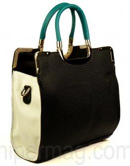 Дамска чанта Exchange в черен цвят и бяли страни