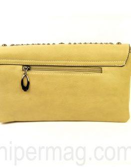 Дамска чанта с капси Exchange в бежов цвят